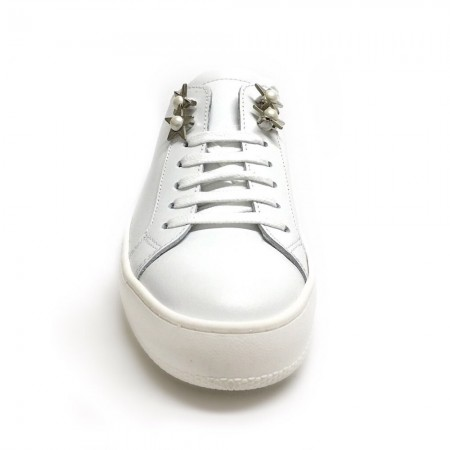 Sneakers sabot bianco argento