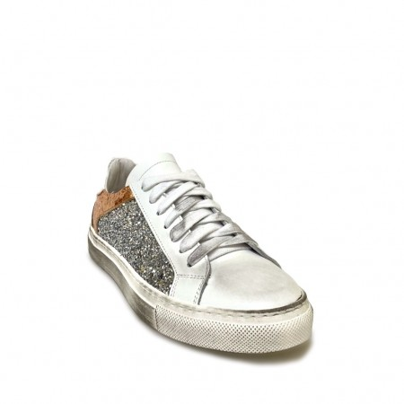 Sneakers glitter argento rame