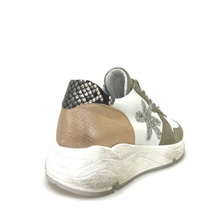 Sneakers running taupe rame glitter pitone