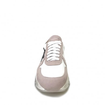 Sneakers running rosa argento glitter pitone