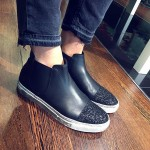 SNEAKERS SLIPON A STIVALETTO CON GLITTER NERO