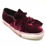 Slipon con fiocco in velluto bordeaux